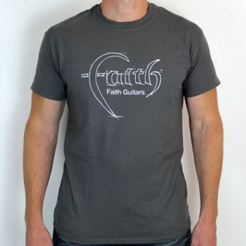 Faith Guitars T-Shirt Charcoal/White - X-Large